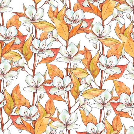 Seamless pattern with white flowers and yellow leaves. Floral background, hand drawn