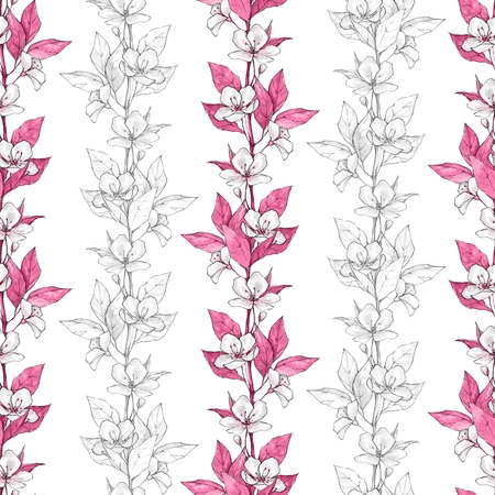 Seamless pattern with flowers and pink leaves