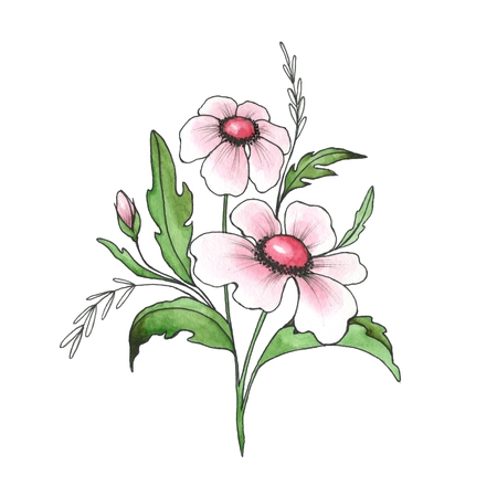 White flowers. Hand drawn branch. Ink and watercolor Stock Photo