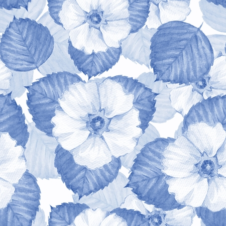 Delicate floral seamless pattern. Watercolor background with white flowers