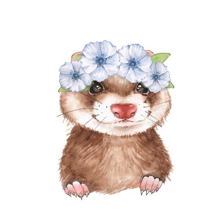 Cute ferret in wreath. Watercolor illustration, isolated on white Zdjęcie Seryjne