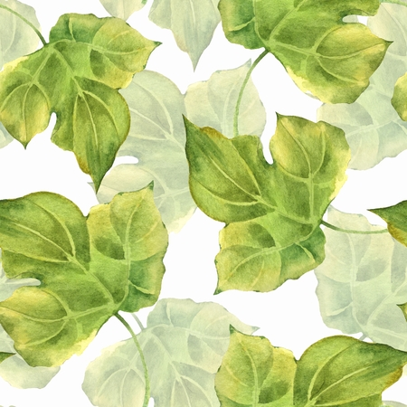 Floral pattern. Seamless background with green watercolor leaves Banque d'images