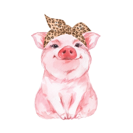 Funny pig wearing leopard bandana. Isolated on white. Cute watercolor illustration Banco de Imagens