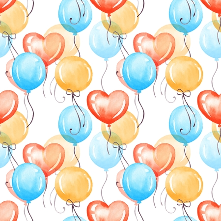 Red, blue and yellow balloons. Watercolor colorful seamless pattern