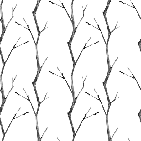 Seamless pattern with dry branches. Watercolor illustration