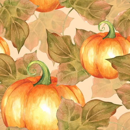 Orange pumpkins. Hand painted seamless pattern Watercolor illustration