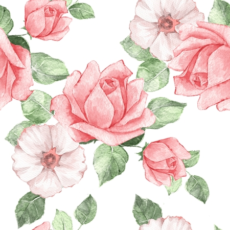 Floral seamless pattern. Watercolor background with red roses