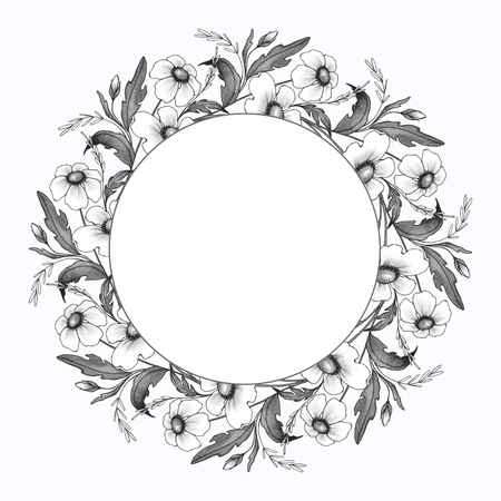 Watercolor floral frame. Element for design. Ink flowers and leaves