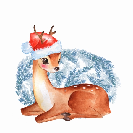 Baby Deer. Cute fawn Watercolor christmas illustration Stock Photo