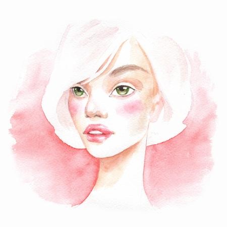 Beautiful blonde girl. Watercolor portrait Female face