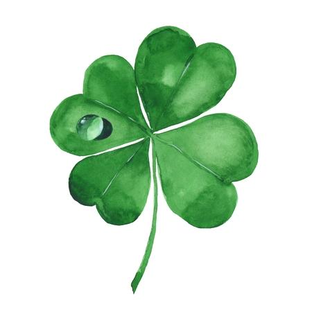 Green clover leaf. Four-leaf clover. Watercolor illustration