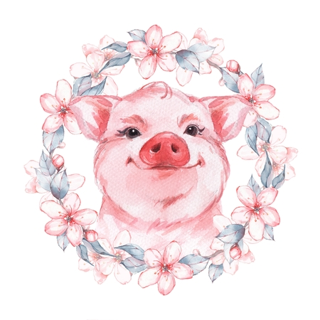 Beautiful pink pig. Delicate flowers Watercolor illustration Stock Photo