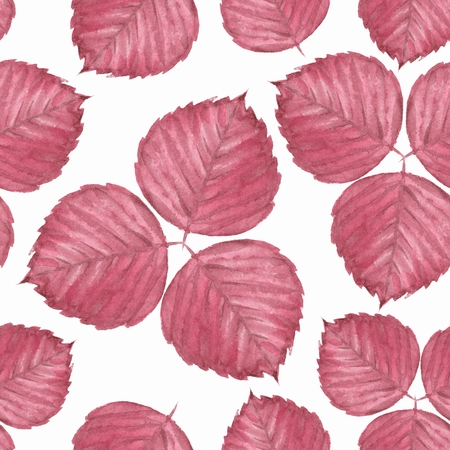 Seamless pattern with red leaves. Watercolor illustration 4 Stock Photo