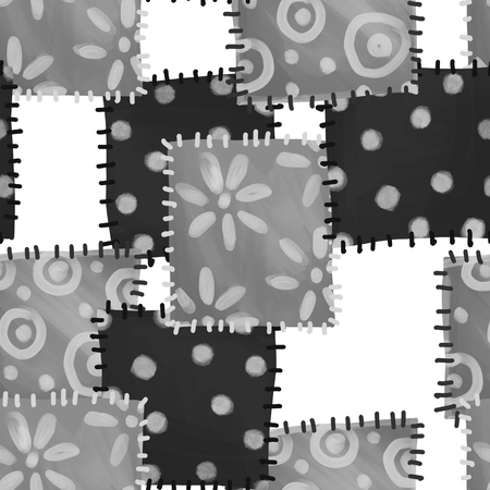 Seamless pattern of patches. Monochrome abstract background