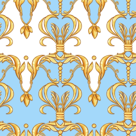 Seamless baroque pattern with decorative golden leaves
