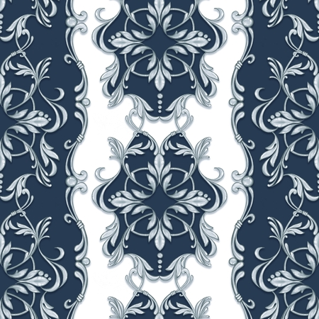 Seamless baroque pattern with decorative silver leaves