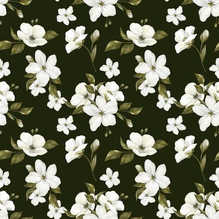 Seamless dark pattern with white apple flowers