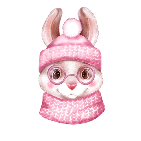 Rabbit with hat and scarf. Hand drawn illustration of cute dressed bunny 写真素材