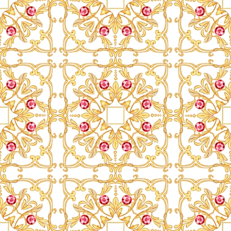 Seamless pattern with golden scrolls and ruby gems