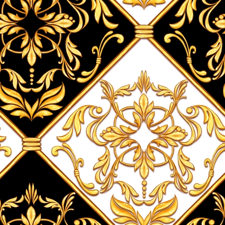 Seamless baroque pattern with decorative golden leaves Banque d'images - 114518433