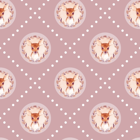 Watercolor vintage seamlessl pattern with fawns. Hand drawn baby deer background