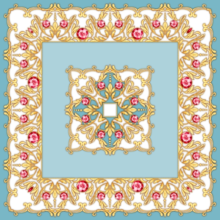 Square composition with golden scrolls and leaves. Design of kerchief
