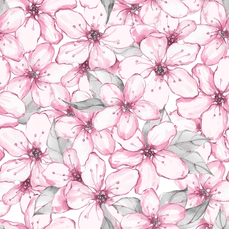 Floral seamless pattern. Watercolor background with sakura