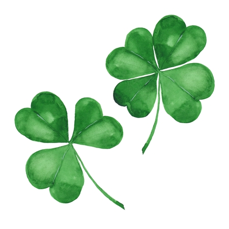 Aquarell Klee. Grünes vierblättriges Kleeblatt isoliert auf weiß Standard-Bild