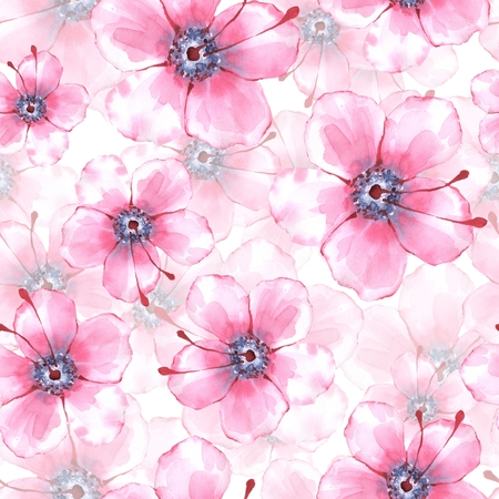 Floral seamless pattern. Watercolor background with pink flowers Stock Photo