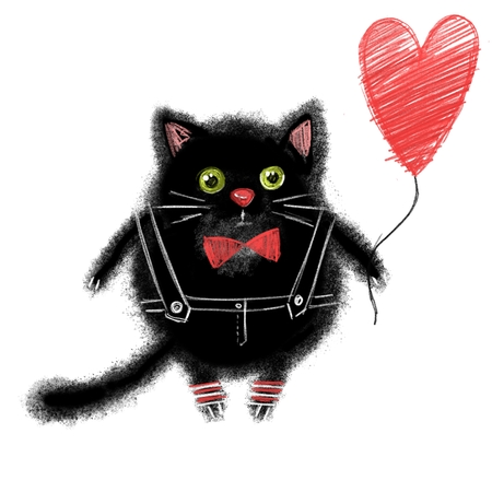 Cartoon black cat with red balloon, isolated on white