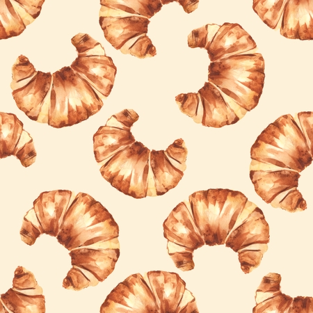 French croissant. Hand painting watercolor seamless pattern Stock Photo