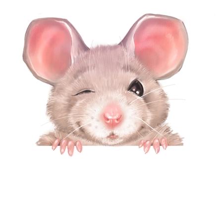Cute cartoon rat winks. Isolated on white background Stock Photo
