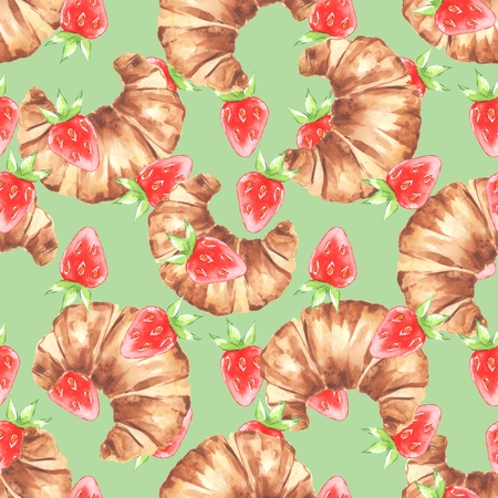 French croissant and strawberry. Watercolor seamless pattern