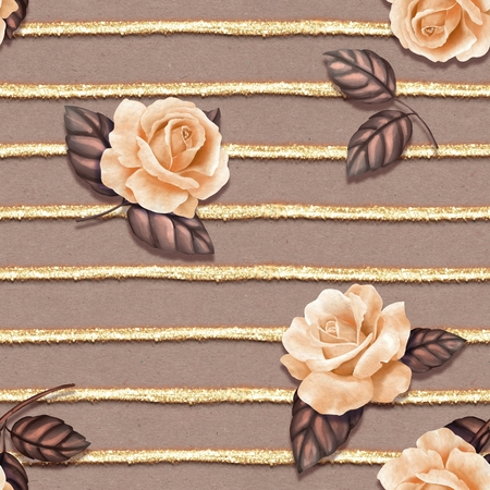 Seamless pattern with roses and glitter stripes. Delicate floral background with old paper background Фото со стока