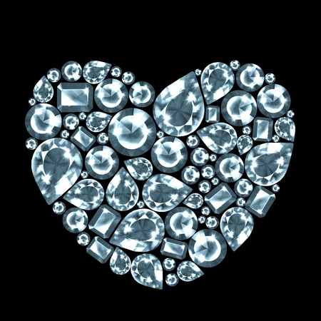 Diamond gem heart, isolated on black background Standard-Bild
