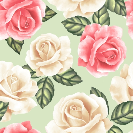 Seamless pattern with flowers and leaves. Delicate floral background with roses Imagens