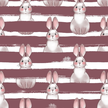 Cute cartoon rabbits. Seamless pattern. Striped backround Banco de Imagens