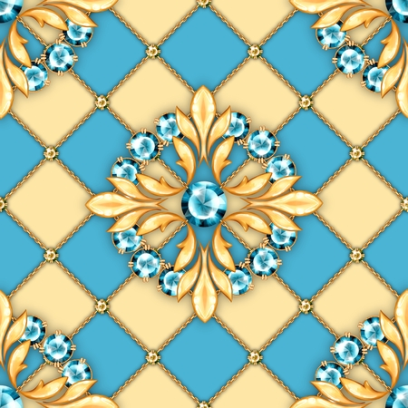 Jewelry background. Seamless pattern with crossed golden chains and round gemstones