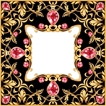Golden baroque frame. Square compozition with golden elements Stock Photo