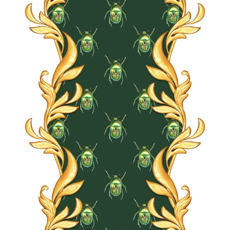 Golden baroque seamless border. Classic pattern with beetles