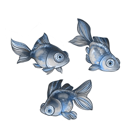 Set of cartoon fish isolated on white background