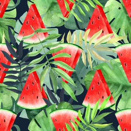 Watermelon slices with tropical leaves. Seamless floral pattern