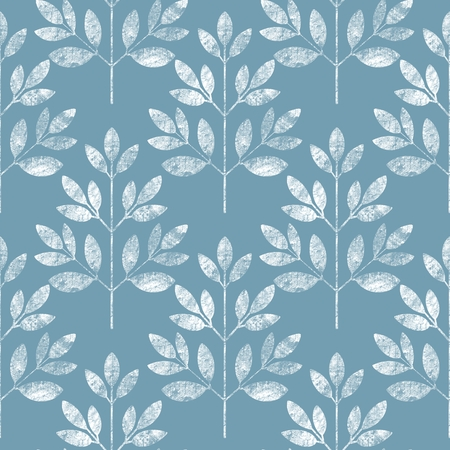 White leaf seamless pattern on blue background. Floral grunge background