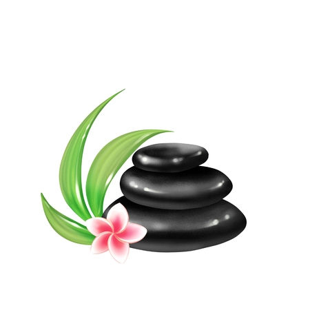 Plumeria flowers and black zen stones isolated on white background Banco de Imagens