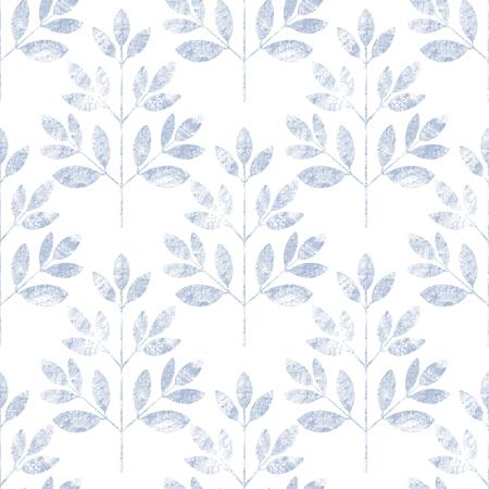 Blue leaf seamless pattern on white. Floral grunge background