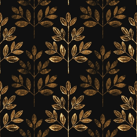 Abstract leaf seamless pattern on black. Floral grunge background