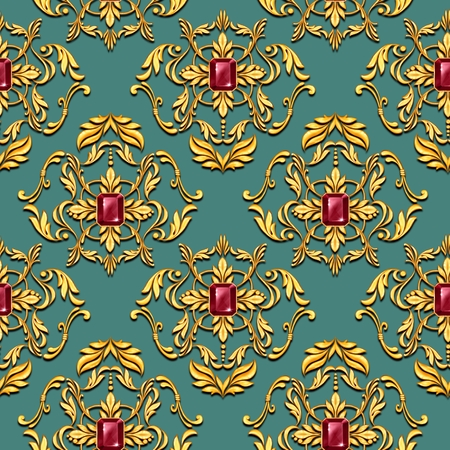 Seamless green baroque pattern with golden scrolls and ruby gems Фото со стока