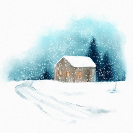 Winter landscape with house. Digital painting in watercolor style Фото со стока