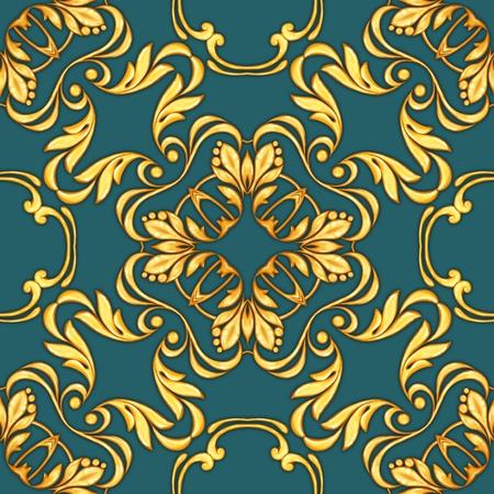 Seamless baroque pattern with decorative golden scrolls Фото со стока