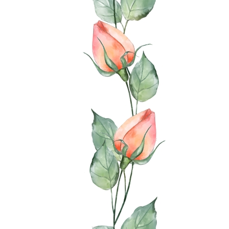 Seamless floral pattern with watercolor roses. Beautiful spring background